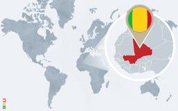 Carte bleue abstraite du monde avec le Mali magnifié illustration libre de droits