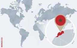 Carte bleue abstraite du monde avec le Maroc magnifié illustration libre de droits