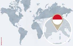 Carte bleue abstraite du monde avec le Monaco magnifié illustration libre de droits