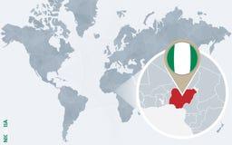 Carte bleue abstraite du monde avec le Nigéria magnifié illustration stock