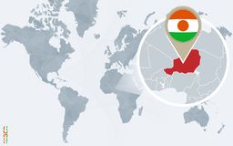 Carte bleue abstraite du monde avec le Niger magnifié illustration de vecteur
