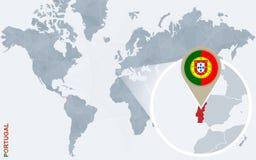 Carte bleue abstraite du monde avec le Portugal magnifié illustration libre de droits
