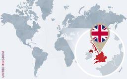 Carte bleue abstraite du monde avec le Royaume-Uni magnifié illustration de vecteur
