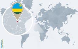 Carte bleue abstraite du monde avec le Rwanda magnifié Illustration Libre de Droits