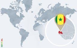 Carte bleue abstraite du monde avec le Sénégal magnifié illustration de vecteur