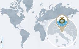 Carte bleue abstraite du monde avec le Saint-Marin magnifié illustration stock