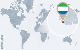 Carte bleue abstraite du monde avec le Sierra Leone magnifié illustration stock