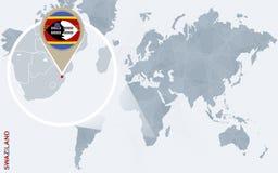 Carte bleue abstraite du monde avec le Souaziland magnifié illustration libre de droits