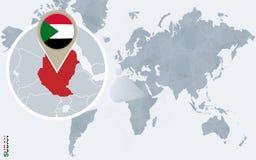 Carte bleue abstraite du monde avec le Soudan magnifié illustration libre de droits