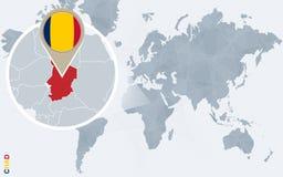Carte bleue abstraite du monde avec le Tchad magnifié illustration libre de droits