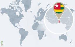 Carte bleue abstraite du monde avec le Togo magnifié illustration de vecteur