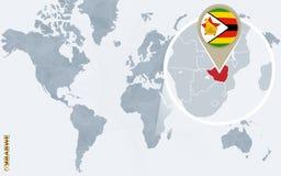 Carte bleue abstraite du monde avec le Zimbabwe magnifié illustration stock
