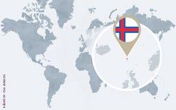 Carte bleue abstraite du monde avec les Iles Féroé magnifiées illustration stock
