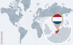 Carte bleue abstraite du monde avec les Pays-Bas magnifiés illustration de vecteur