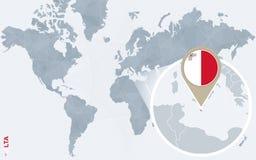 Carte bleue abstraite du monde avec Malte magnifiée illustration libre de droits