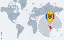 Carte bleue abstraite du monde avec Moldau magnifié illustration de vecteur