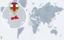 Carte bleue abstraite du monde avec République Centrafricaine magnifié illustration de vecteur