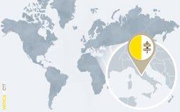 Carte bleue abstraite du monde avec Ville du Vatican magnifiée illustration libre de droits