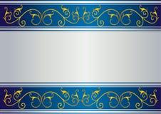 Carte bleue avec la conception florale d'or Photos libres de droits