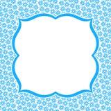 Carte bleue d'invitation de fleur de frontière de cadre Photographie stock