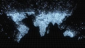Carte bleue de désintégration du monde de circuits se dissolvant dans des données binaires illustration libre de droits