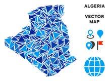 Carte bleue de l'Algérie de triangle illustration stock