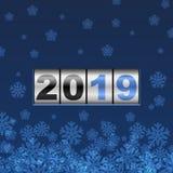 Carte bleue de nouvelle année du compteur 2019 illustration de vecteur
