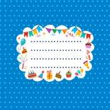 Carte bleue de salutation ou d'invitation avec le cadre pour votre texte Photos stock