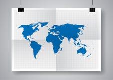 Carte bleue de vecteur Calibre de carte du monde Deux fois une affiche pliée avec des brides Image libre de droits