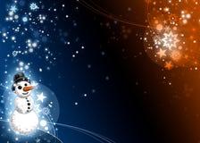 Carte bleue et orange de Noël de bonhomme de neige Images libres de droits
