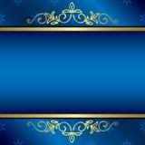 Carte bleue lumineuse avec les décorations florales d'or Photographie stock libre de droits