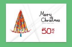 Carte 2019, bonne année, bannière, arbre de Noël, design de carte de décoration de vacances, brochure, calibre de Joyeux Noël d'i illustration de vecteur