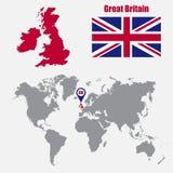 Carte BRITANNIQUE sur une carte du monde avec l'indicateur de drapeau et de carte Illustration de vecteur illustration de vecteur