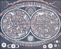 Carte céleste de vintage dépeignant des planètes, des constellations et le signe image stock