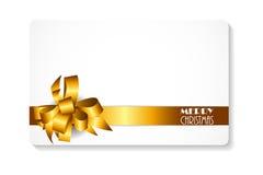 Carte cadeaux avec l'arc d'or et Noël de ruban le Joyeux Illus de vecteur Images libres de droits