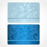 Carte cadeaux bleue (carte de remise, carte de visite professionnelle de visite). Flo Images stock