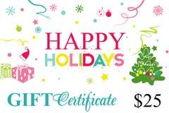 Carte cadeaux, bon de cadeau bonnes fêtes Photos libres de droits
