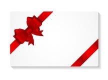 Carte cadeaux con el ejemplo del vector del arco y de la cinta Imágenes de archivo libres de regalías