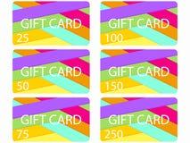 Carte cadeaux dans le style matériel de conception Couches de papier coupé Les cartes ont coûté dans 25, 50, 75 100, 150, 250 Ens Image stock