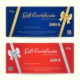 Carte cadeaux de la elegancia o plantilla del vale de regalo con oro brillante y ilustración del vector