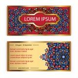 Carte cadeaux de luxe de vintage de calibre de vecteur Fond floral de modèle de mandala Image libre de droits