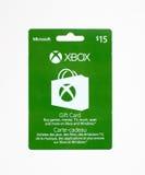 Carte cadeaux de Microsoft Xbox sur un fond blanc Images stock