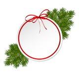 Carte cadeaux de Noël avec l'arc de satin de ruban Images stock