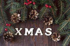 Carte cadeaux de Noël avec la composition en vacances Photos libres de droits