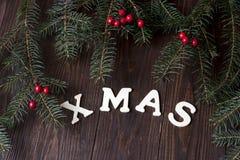 Carte cadeaux de Noël avec la composition en vacances Images libres de droits
