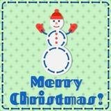 Carte cadeaux faite main de bonhomme de neige de Noël Images libres de droits