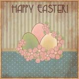 Carte cadeaux feliz del vintage de Pascua, vector Imagen de archivo libre de regalías