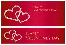 Carte cadeaux rojo de la tarjeta del día de San Valentín con compo entrelazado de los corazones stock de ilustración