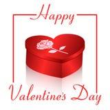 Carte cadeaux sur un fond blanc avec une boîte rouge sous forme de coeur et de jour de Valentine s de mots Invitations de concept Images libres de droits