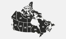 Carte canadienne avec les provinces courtes et les noms de territoires Fond de Canada Illustration de vecteur illustration stock